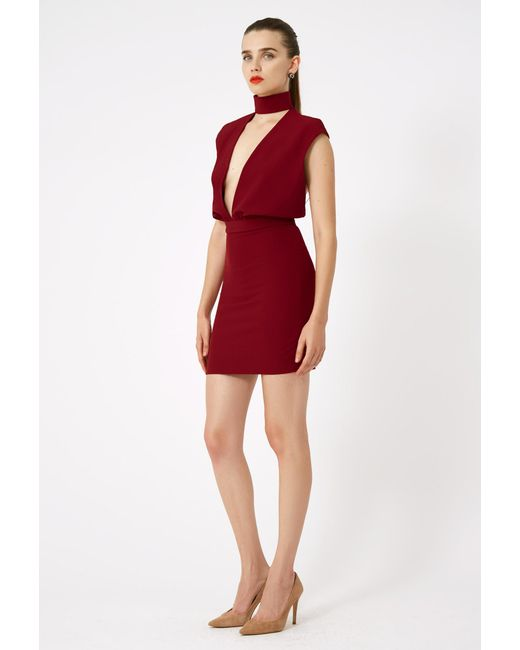 AQ/AQ - Red Dakota Keyhole Mini Dress - Lyst