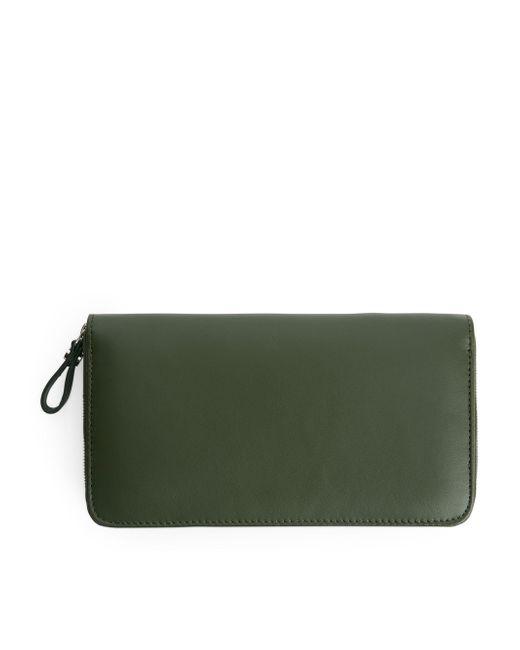 ARKET - Green Leather Wallet - Lyst