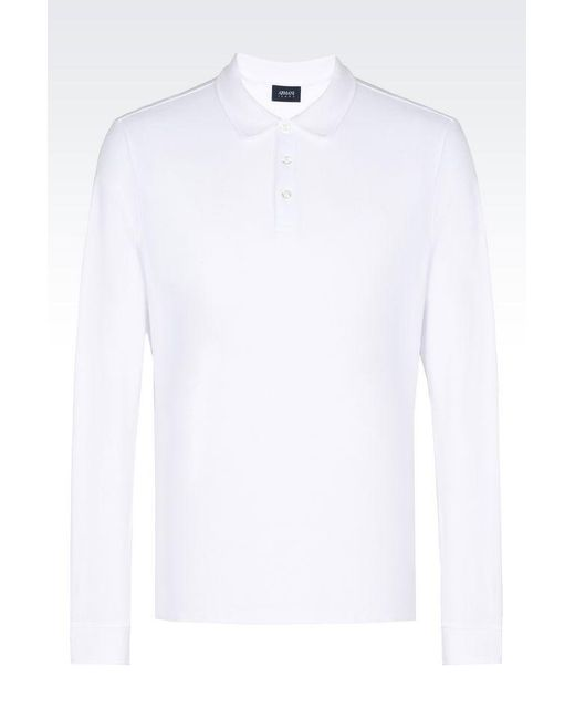 Armani Jeans | White Long-sleeved Polo for Men | Lyst