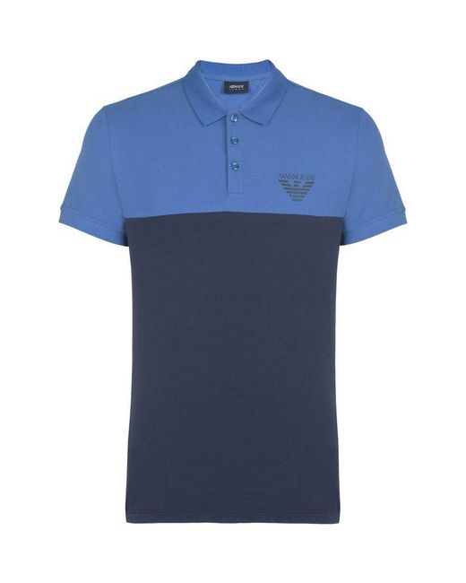 Armani Jeans | Blue Short-sleeved Polo for Men | Lyst