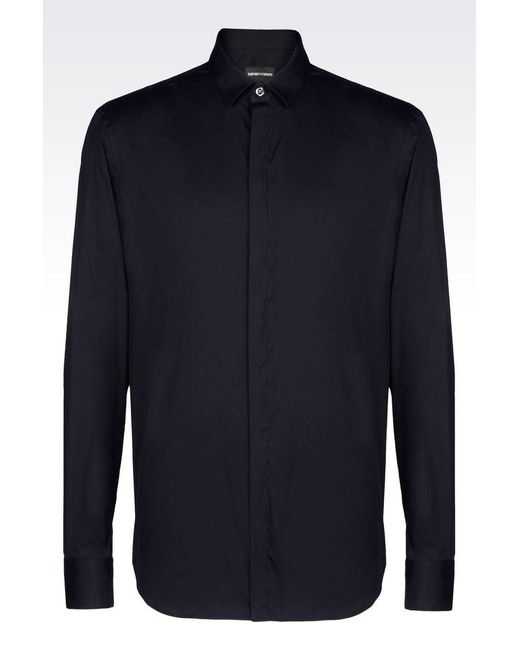 Emporio Armani | Blue Long Sleeve Shirt for Men | Lyst
