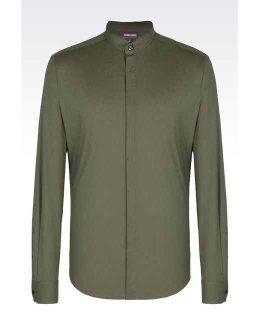 Emporio Armani | Green Long Sleeve Shirt for Men | Lyst