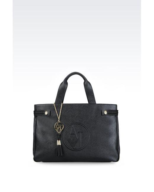 Armani Jeans   Black Saffiano Print Tote Bag With Tassels   Lyst