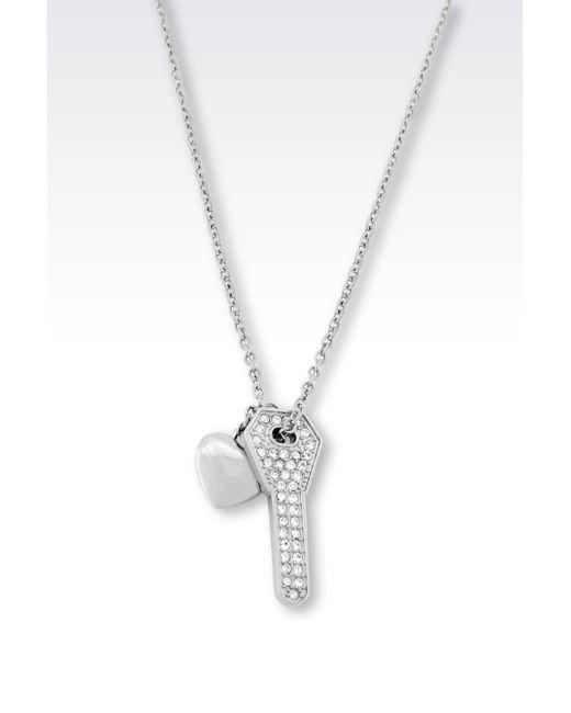 Emporio Armani | Metallic Steel Necklace With Crystals | Lyst