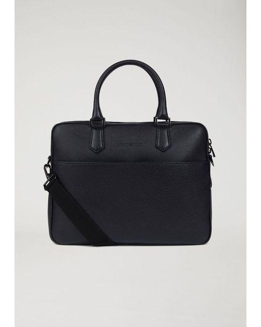 ... Emporio Armani - Blue Briefcase for Men - Lyst ... new product 4c9f3  355e5  Giorgio Armani. Womens Black Nylon Weekend Bag With Leather ... 9353a6a0c0