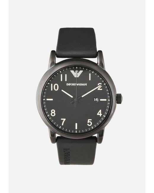 Emporio Armani - Black Rubber Strap Watches for Men - Lyst