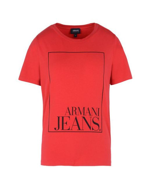 Armani Jeans | Red Print T-shirt for Men | Lyst