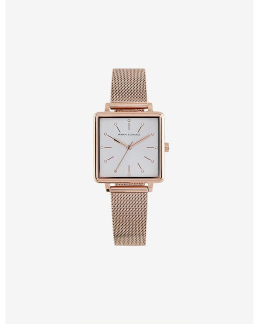 Armani Exchange Pink Women's Stainless Steel Square Three-hand Watch
