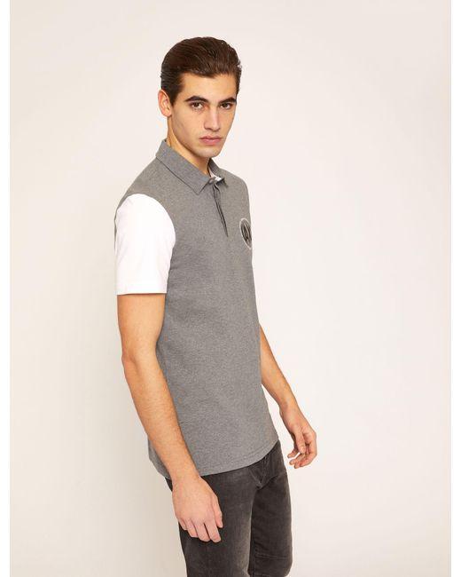 Armani Exchange - Gray World Logo Colorblock Polo for Men - Lyst