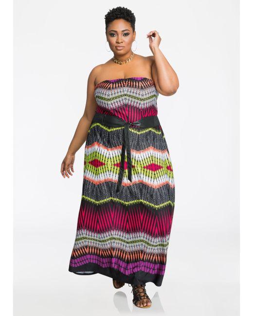 Ashley Stewart | Red Strapless Belted Print Maxi Dress | Lyst