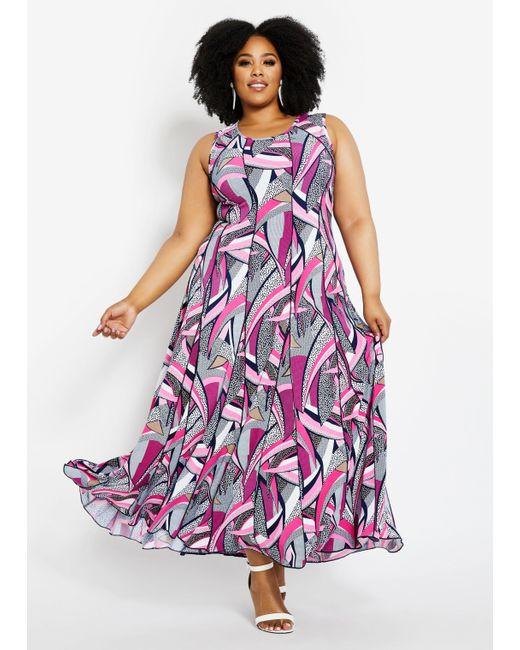 Women\'s Purple Plus Size Geometric Maxi Dress