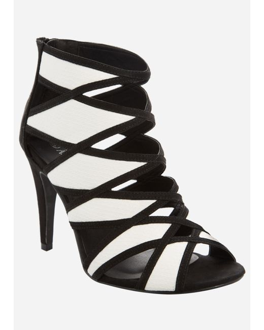 Ashley Stewart - Black Criss Cross Strap Heeled Sandal - Lyst