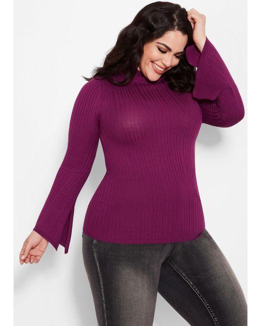 88b4e2b7007 Lyst - Ashley Stewart Plus Size Split Sleeve Turtleneck in Purple