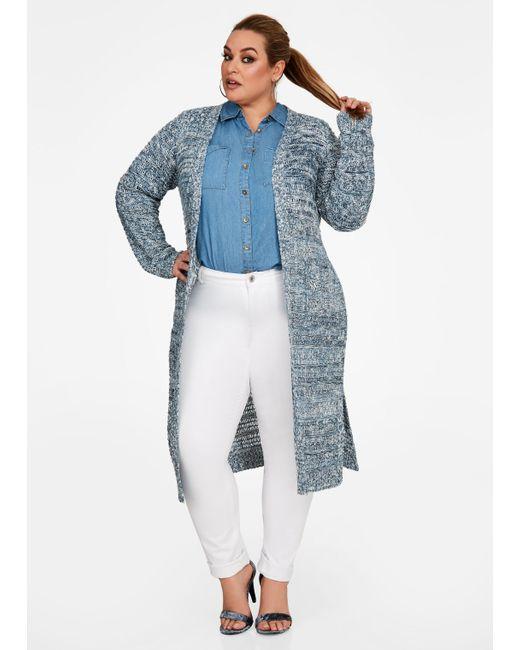 Ashley Stewart - Blue Marled Knit Sweater Duster - Lyst