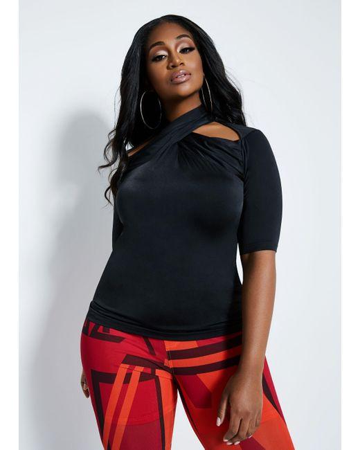 Ashley Stewart Black Plus Size La La Anthony Cutout Knit Top