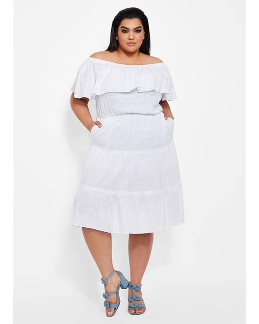 Lyst - Ashley Stewart Plus Size Solid Tiered Ruffle Linen Dress in White