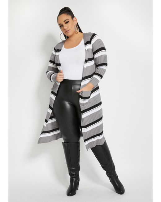 Ashley Stewart Multicolor Plus Size Striped Duster Cardigan