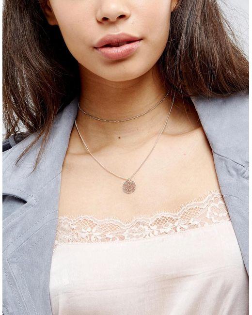 ASOS | Multicolor Fine Multirow Filigree Charm Choker Necklace | Lyst