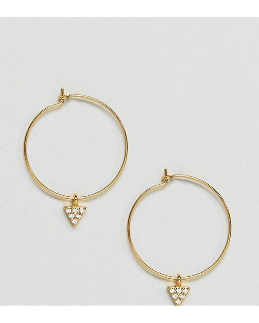 ASOS | Metallic Gold Plated Sterling Silver Pave Triangle Hoop Earrings | Lyst