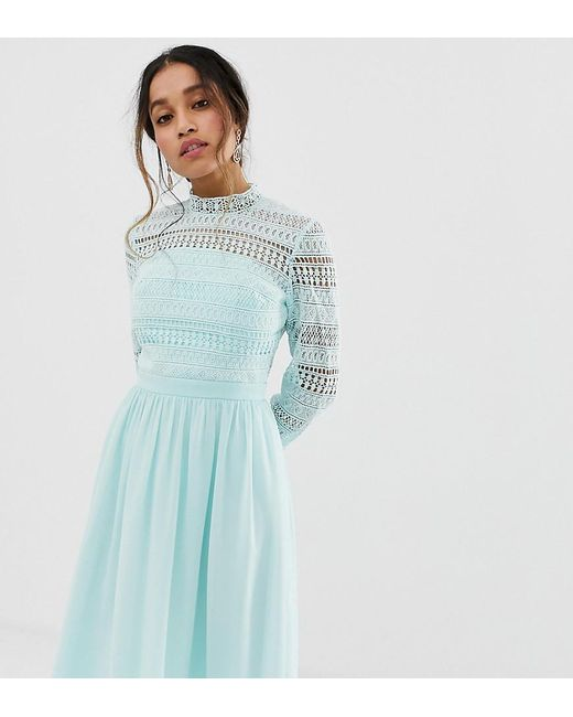 c7b920838 Chi Chi London - Blue Long Sleeve Lace Dress With Pleated Skirt In Mint -  Lyst ...