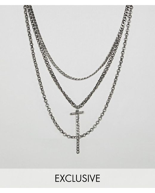 Reclaimed (vintage) - Metallic Inspired Layered Necklaces In Burnished Silver Exclusive At Asos for Men - Lyst