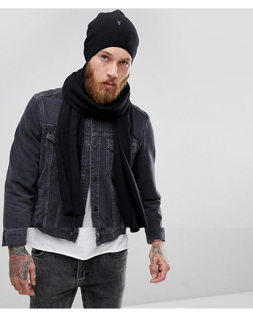 AllSaints - Black Fen Beanie And Scarf Giftset In Lambswool Blend for Men - Lyst