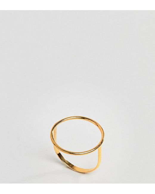 ASOS - Metallic Design Gold Plated Sterling Silver Fine Open Circle Ring - Lyst