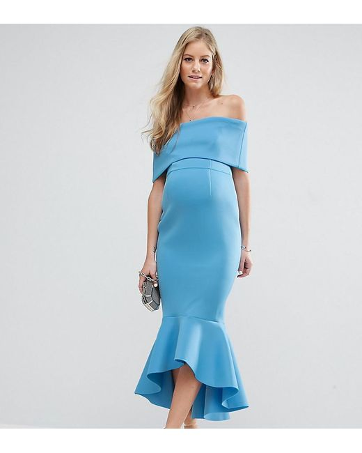 ASOS | Blue Premium Deep Fold Peplum Midi Dress | Lyst