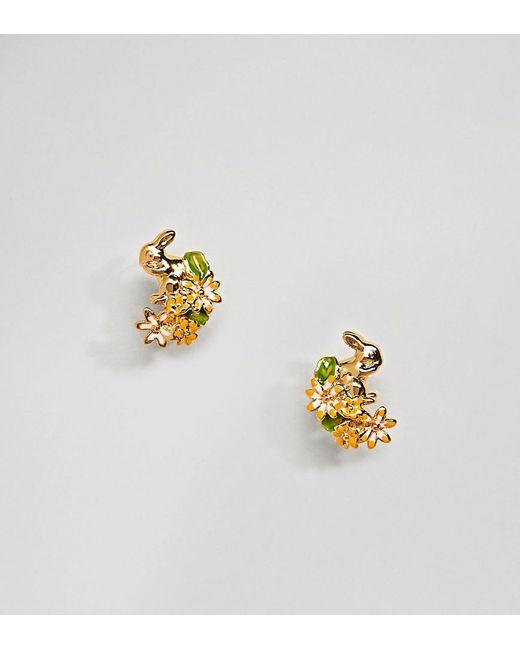 Bill Skinner - Metallic Gold Plated Rabbit & Hare Stud Earrings - Lyst