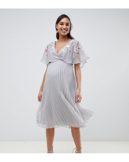 b22483cda967e ASOS - Gray Asos Design Maternity Flutter Sleeve Midi Dress With Pleat Skirt  In Embroidery ...