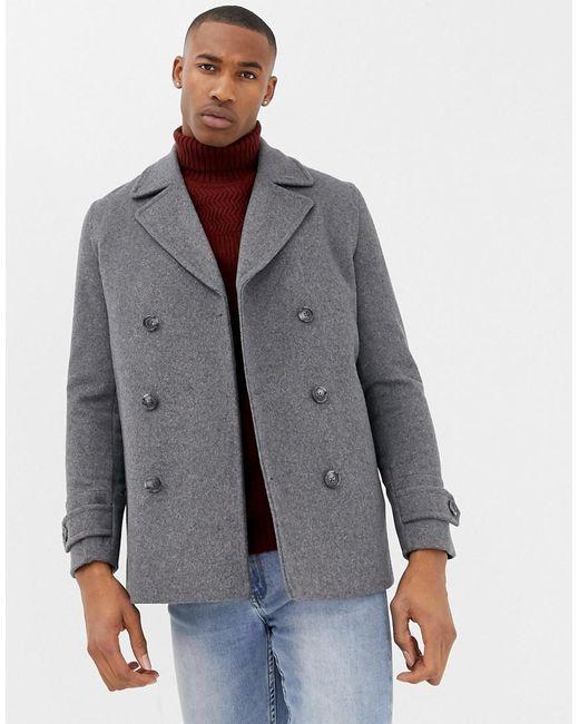 ASOS - Wool Mix Peacoat In Light Gray for Men - Lyst