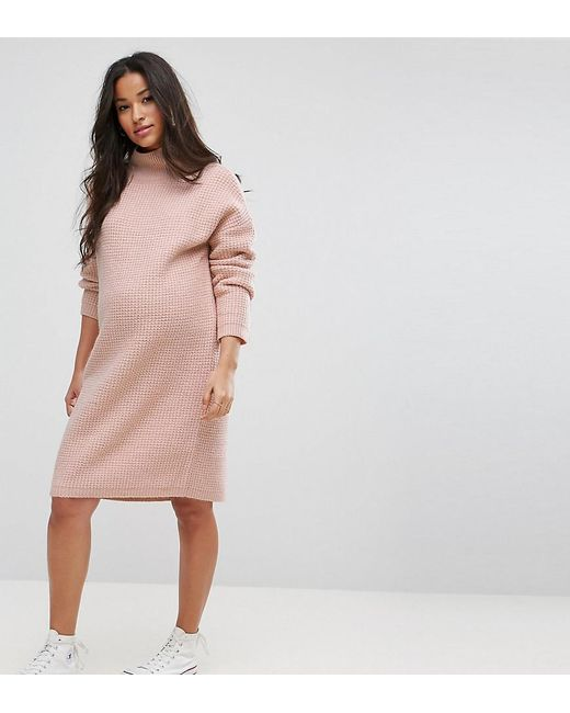 ASOS   Pink Knitted Sweater Dress In Texture Stitch   Lyst