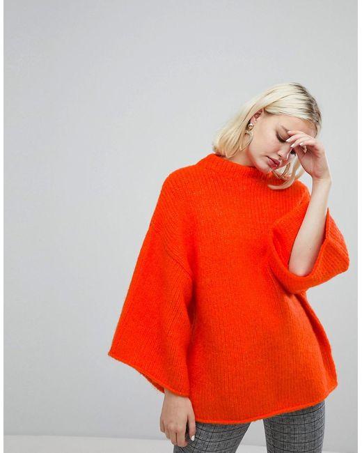 Monki - Orange High Neck Wide Sleeve Jumper - Lyst