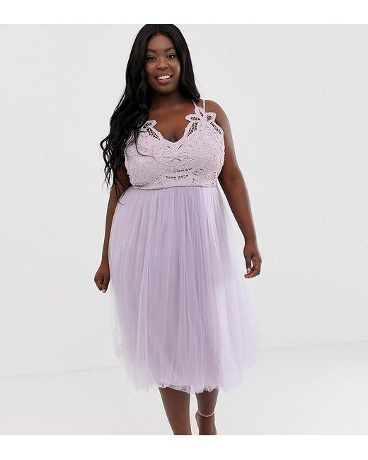 ad790f87a Vestido midi de tirantes con tul y parte superior de encaje premium de ASOS  DESIGN Curve de mujer de color morado
