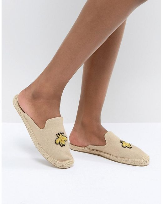 Soludos - Natural Beige Espadrille Mules With Bee Embroidery - Lyst