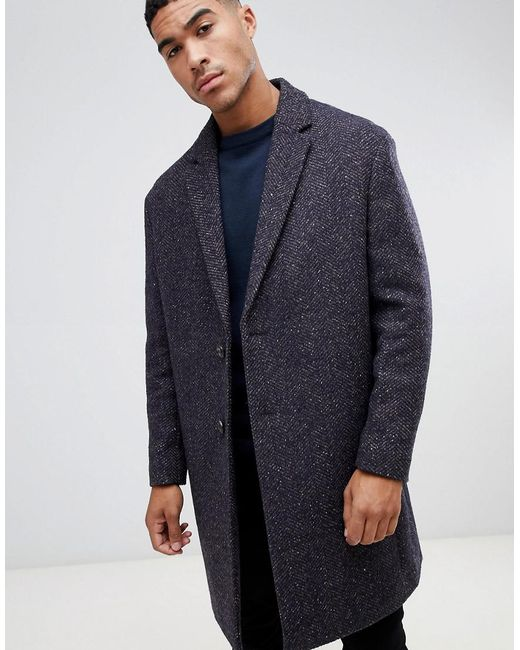 ASOS - Wool Mix Overcoat In Herringbone In Brown for Men - Lyst