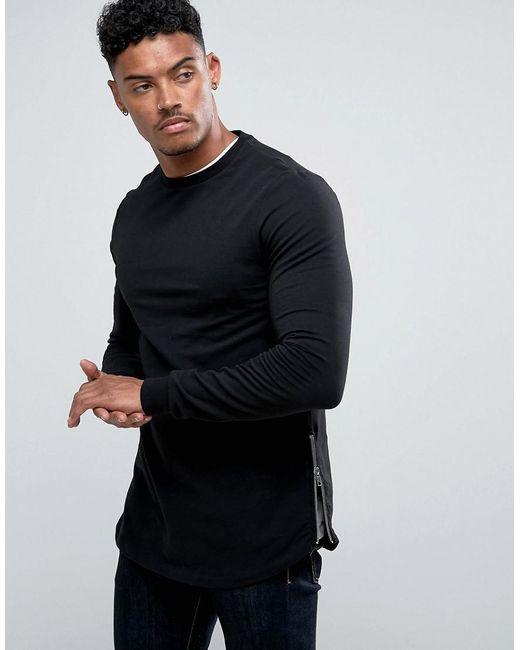 ASOS DESIGN - Longline Muscle Fit Sweatshirt With Side Zip In Black for Men - Lyst