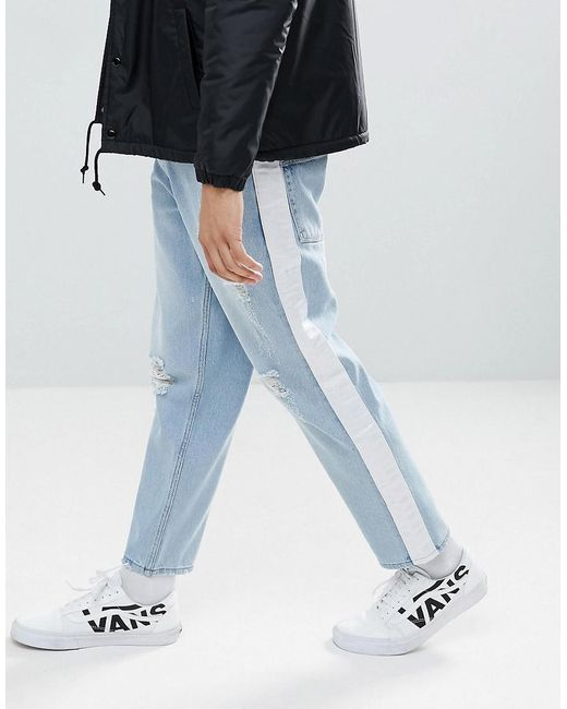 ASOS - Blue Asos Skater Jeans In Light Wash With Abrasions And Side Stripe for Men - Lyst