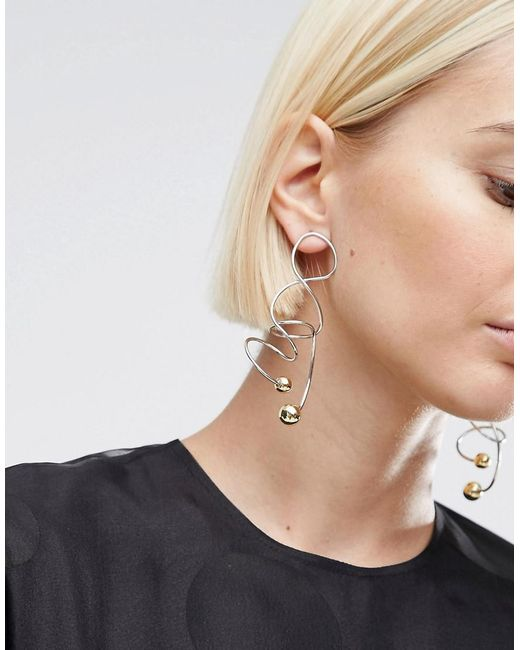ASOS | Multicolor Abstract Wire Earrings | Lyst