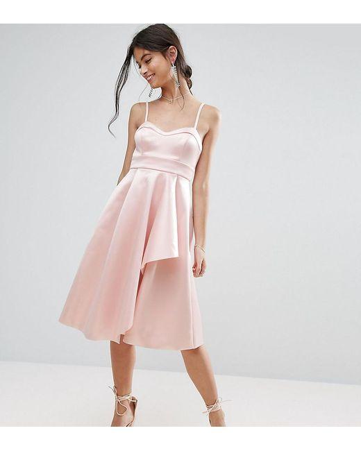 ASOS | Pink Satin Scuba Seamed Waterfall Debutante Midi Dress | Lyst