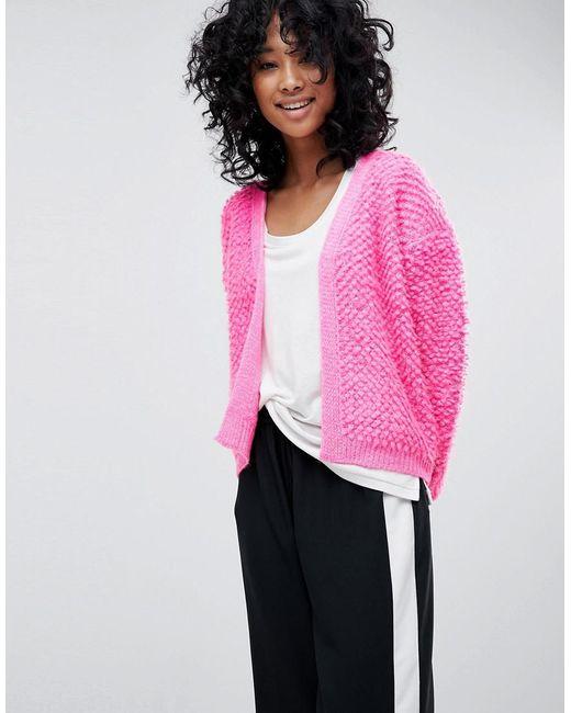 ASOS DESIGN - Pink Asos Cardigan With Bobble Stitch - Lyst