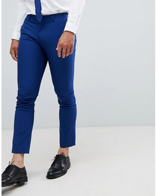 SELECTED - Skinny Suit Pant In Blue With Stretch for Men - Lyst