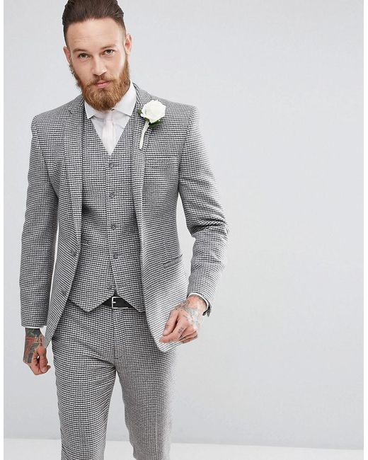 ASOS Gray Wedding Super Skinny Suit Jacket In Grey Houndstooth for men