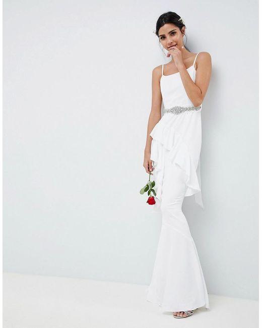 ASOS - White Ruffle Maxi Wedding Dress With Embellished Belt - Lyst