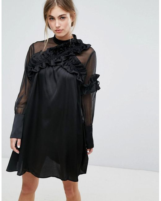 b42d0ad3d1a Lost Ink - Black Long Sleeve Shift Dress With Sheer Mesh Panel And Ruffle  Trims ...
