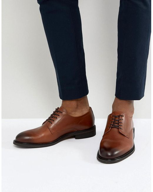 SELECTED - Brown Leather Derby Shoes for Men - Lyst