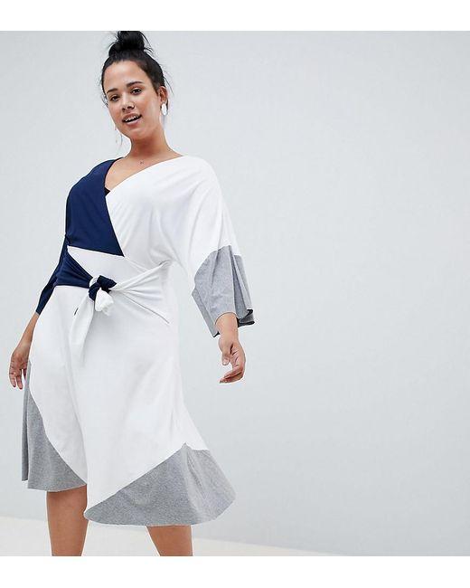 ASOS - Blue Asos Design Curve Colour Block Knot Front Midi Dress - Lyst