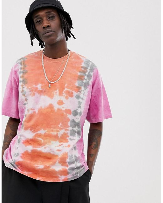 b0059b75 ASOS Oversized T-shirt In Vertical Tie Dye Wash In Pink in Pink for ...