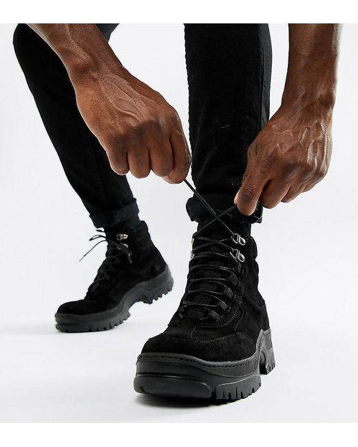 ASOS Trainer Boot In Black Nubuck With Chunky Sole for men