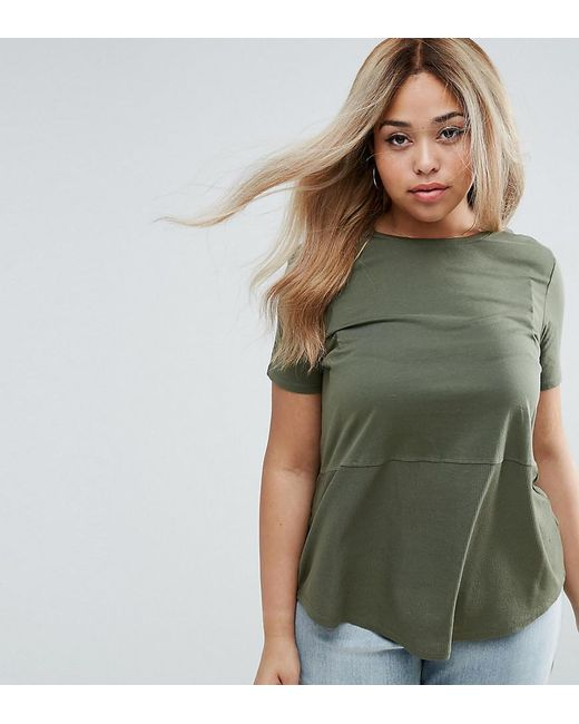 ASOS | Green Contrast Ribbed Panel T-shirt | Lyst